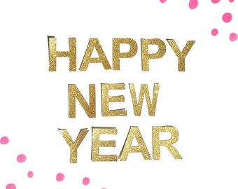 HAPPY NEW YEAR Gold Glitter Bunting Garland. New Years Even Party Banner decoration (other colours available)