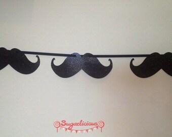 Moustache Black Glitter Bunting Garland