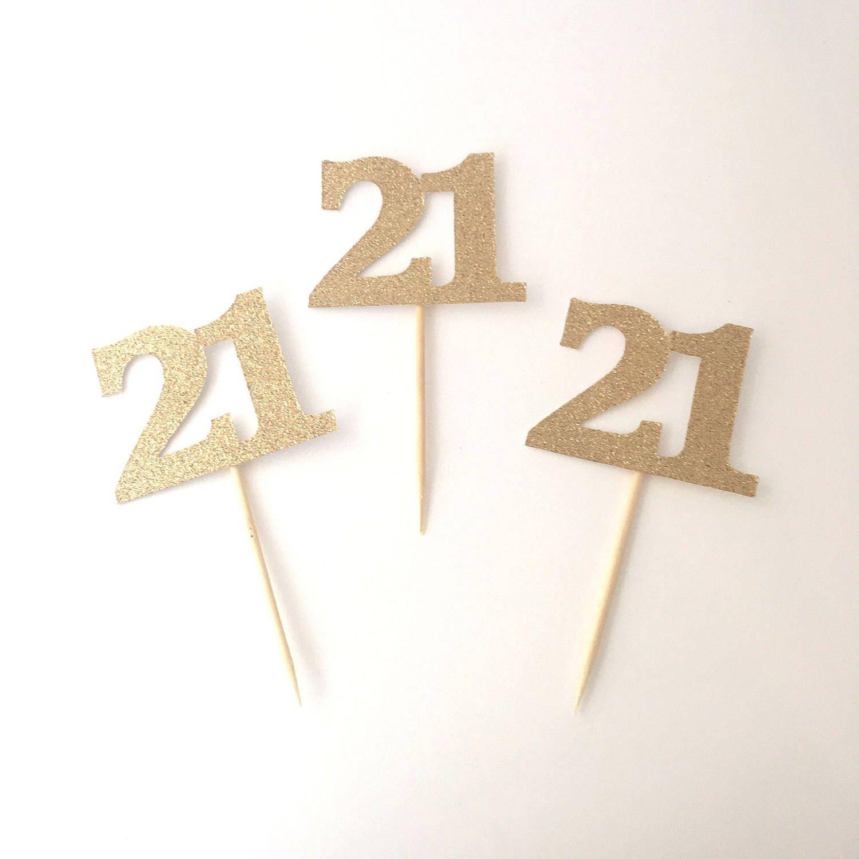 21 Cupcake Toppers / GOLD Glitter 21st Birthday Twenty One ...