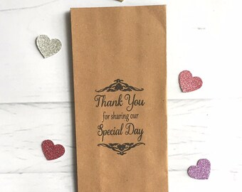 20 x Brown Paper Kraft Bag / Lolly Bags - Hand Stamped 'Thank you for sharing our special day' rustic vintage Wedding favour bags