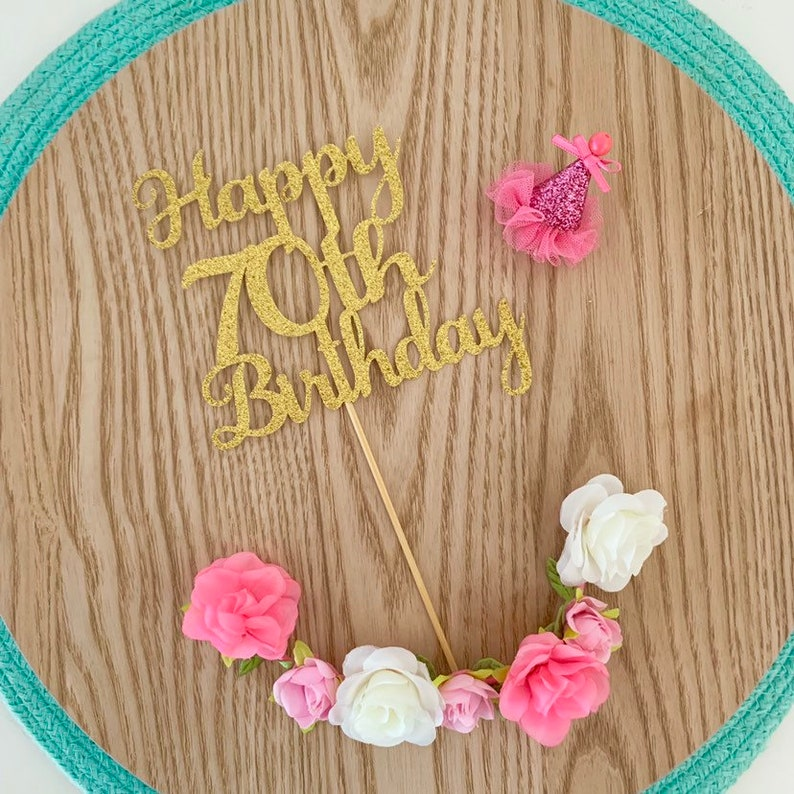 Happy 70th Birthday Cake Topper Party