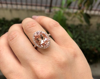 6ce156ddc68de4 14K Rose Gold Large Oval Cut Morganite and Diamond Ring Style #L5034