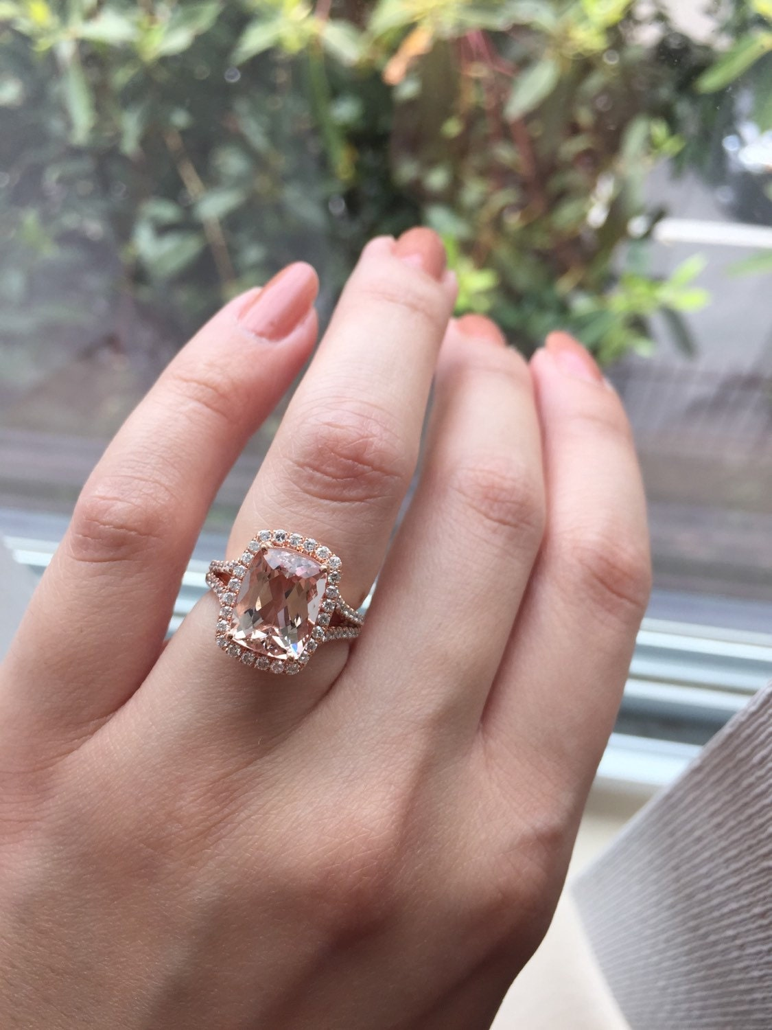 14K White Gold Rose Gold Cushion Cut Morganite and Diamond | Etsy