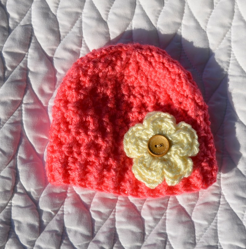 1e4977522 Newborn Coral Flower Beanie Ready to ship, crochet, newborn, hat, beanie,  baby beanie, coral, flower, cream, baby shower gift
