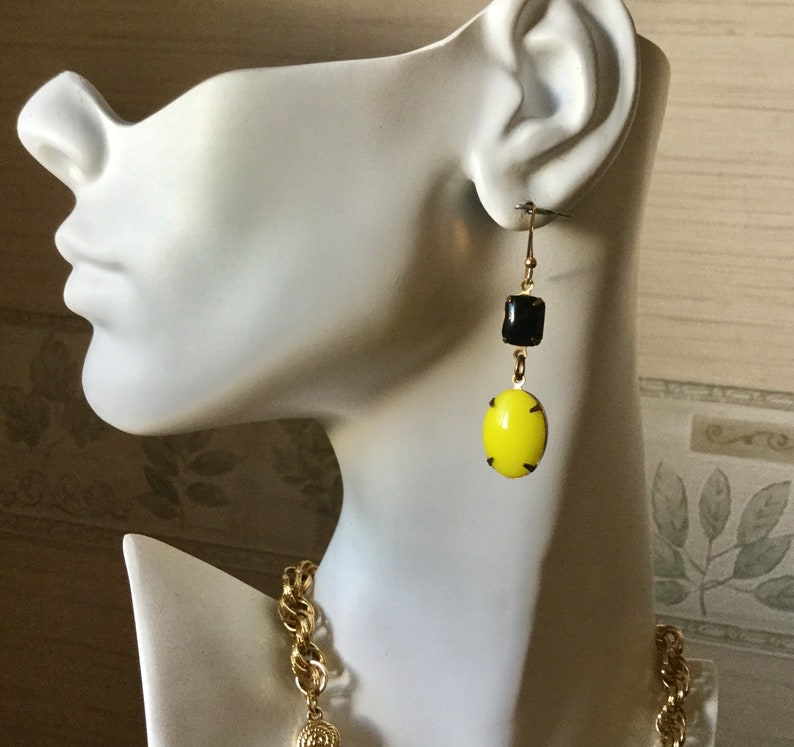 Christmas Gift for Her Steelers Gift 1940\u2019s Milk Glass Gift under 25 Steelers Earrings Black and Yellow Milk Glass Upcycled Earrings