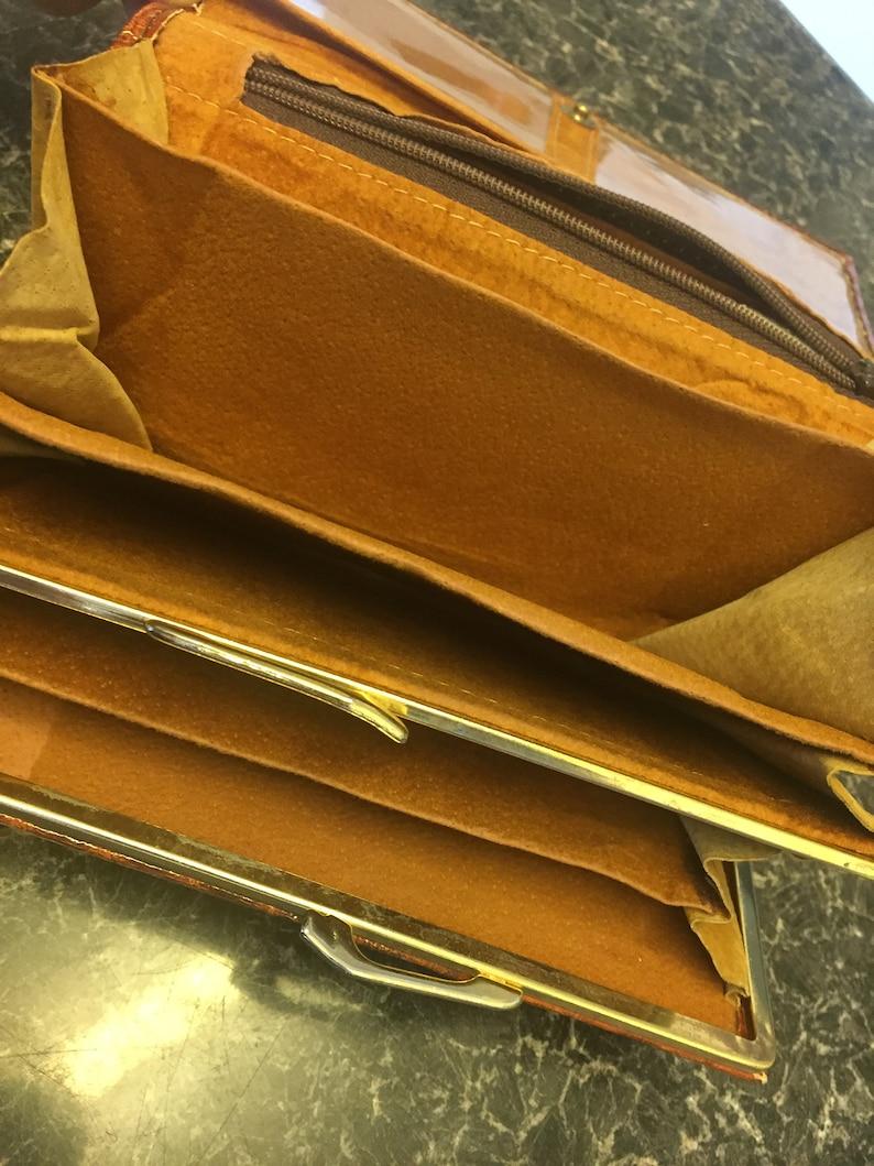 Etienne Aigner Authentic Vintage Glossy Tan Croc Leather Purse