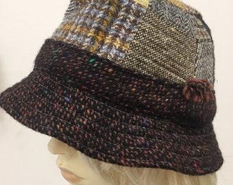 Hanna Hats of Donegal Irish Wool Patchwork Bucket Hat sz s/m