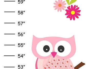 Personalized Pretty Pink Owls Canvas Growth Chart