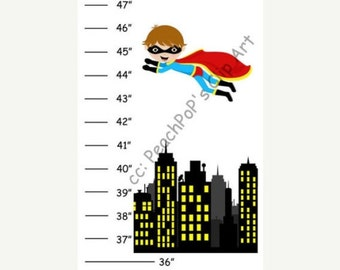 Personalized Super Heros Canvas Growth Chart