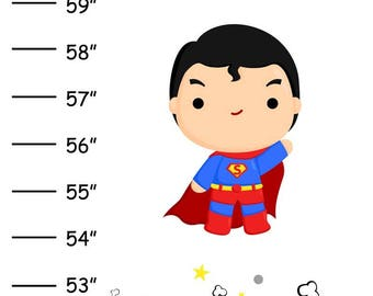 ON SALE Personalized Super Heros v2 Canvas Growth Chart