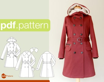 PDF sewing pattern for women Double breasted coat -Tsubaki- (size 34-50)