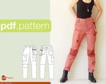 PDF sewing pattern for women Work pants -Azuki- (size 32-52) PDF