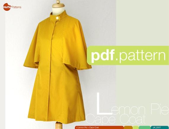 PDF-Schnittmuster Frauen-Cape-Mantel Lemon Pie Größe