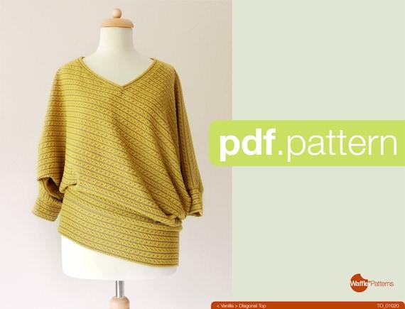PDF-Schnittmuster. Frauen Diagonal Stricktop Vanille