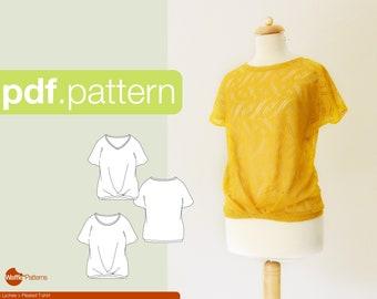 PDF sewing pattern Women Pleated T-shirt -Lychee- (size 34-50)