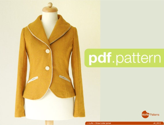 PDF sewing pattern. Women Shawl collar jacket Luffa size | Etsy