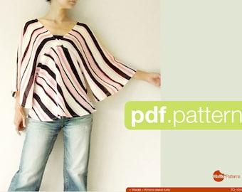 PDF sewing pattern Women Kimono sleeve tunic -Warabi- (size 34-48)