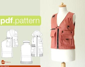 PDF sewing pattern for women Cargo vest -Tsuki- (size 32-52)