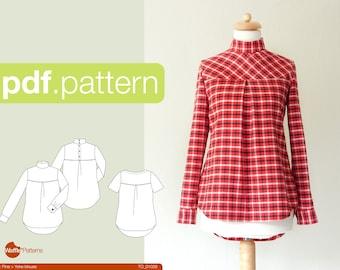 PDF sewing pattern Women Yoke Blouse -Pine- (size 34-48)