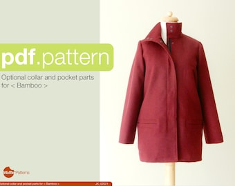 PDF sewing pattern Optional Stand collar and Pocket Pattern for <Bamboo> coat