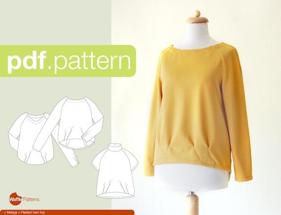 PDF-Nähen Muster Frauen gefalteter Saum Top Malaga Größe | Etsy