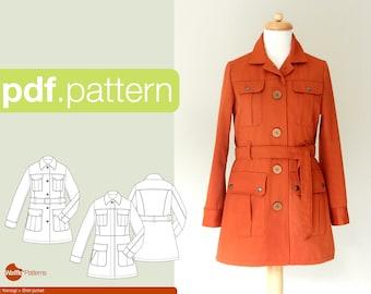 PDF sewing pattern for women Shirt jacket -Yomogi- (size 32-52)