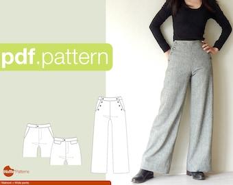 PDF sewing pattern for Women Wide pants -Walnoot- (size 34-48)