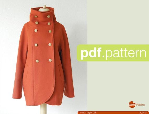 PDF-Nähen Muster Frauen Raglan-Mantel YuzuGröße 34-48 | Etsy