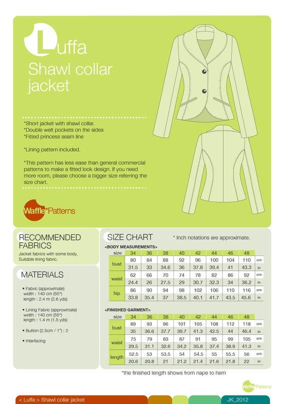 fama mondiale prima clienti qualità eccellente Cartamodello PDF. Giacca collo a scialle donne - Luffa - (dimensione 34-48)