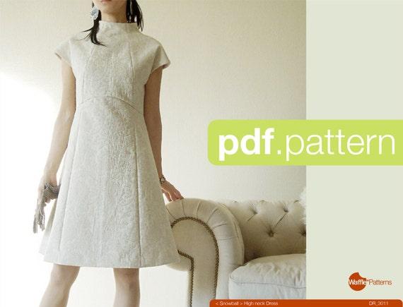 PDF-Schnittmuster Frauen hohe Hals Kleid Schneeball Größe | Etsy