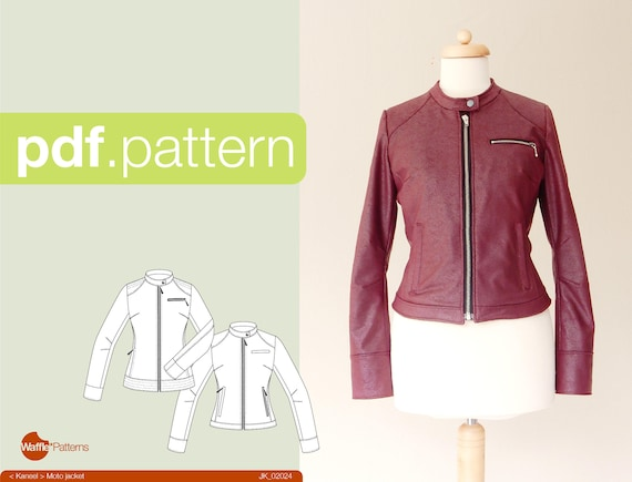 Pdf Sewing Pattern Women Moto Jacket Kaneel Size 34 48 Etsy
