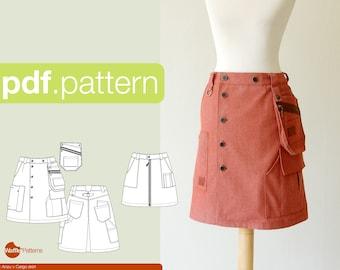 PDF sewing pattern for women Cargo skirt -Anzu- (size 32-52)