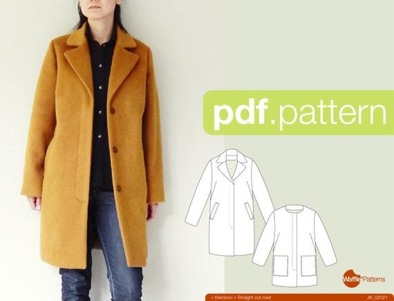 PDF-Schnittmuster Frauen gerade geschnitten Mantel Bambus | Etsy
