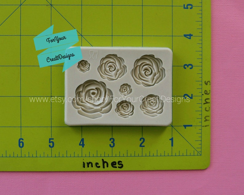 chocolate clay Roses and Rose Leaves silicone mold 2 pieces marzipan resin. masa elastica For fondant