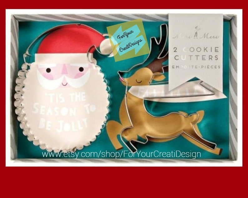 Be Jolly Christmas Cookie Cutter Set 2 Pcs By Meri Meri Designed In England Santa Rudolph The Reindeer Metal Cookie Cutters
