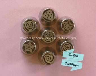 Big Frosting Tips 7 pieces set, 7 different flowers designs.