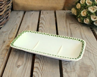 Vintage Soap Dish - French Ceramic Rectangular Plate - Green Point Pattern