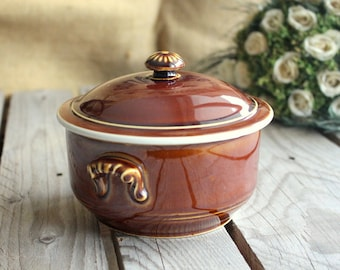 Vintage Casserole Dish - French Vintage Ceramic Round Oven Dish - Brown Glazed - French Pottery - Made in France - Ceramic Bakeware