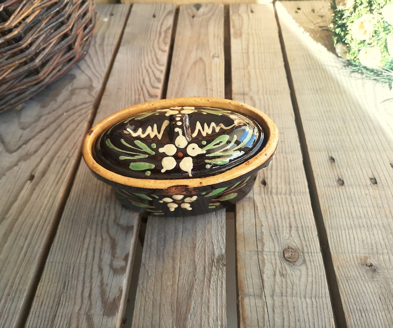 French Vintage Brown Ceramic Terrine with Flower Decor Alsace Pottery