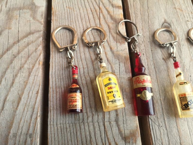 Set of 7 French Vintage Advertising Bottle Key Rings