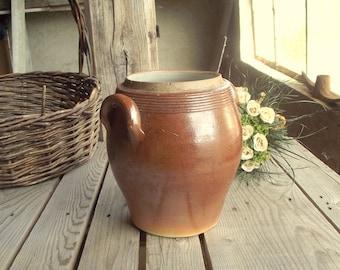Stoneware Crock - Vintage Confit Pot - Brown Glazed Crock - Pottery Crock Pot - French Pickles Pot - Kitchen Jar - Kitchenware Holder