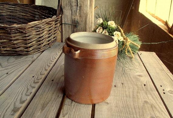 Pot Vintage en Grès - Petit Vinaigrier - Pot à Cornichon - Pot en Terre Cuite Marron Glacé