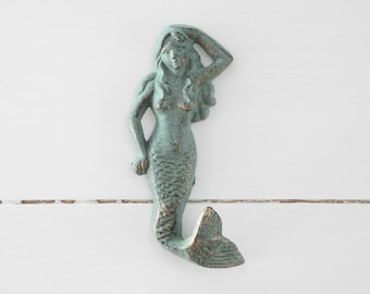 Mermaid Hook, Cast Iron Hook, Coat Hook, Spa Hook, Key Hook, Bathroom hook, cast iron mermaid wall hook, cast iron home decor,