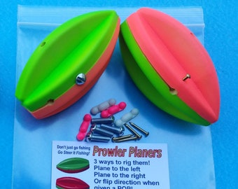 """TWO 4"""" Prowler Planer Board Bobbers with PATENTED direction control """"You Steer It"""" (fishing floats / bobbers / corks)"""