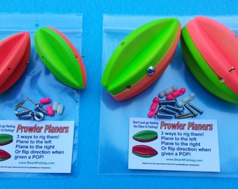 """4 Prowler Planers Two 3"""" and 4"""" ...Planer Board Bobbers Go STEER IT FISHING"""