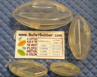 Clear BulletBobbers Combo Pack min planer board bobbers go left and right POP to flip direction. Lure blanks