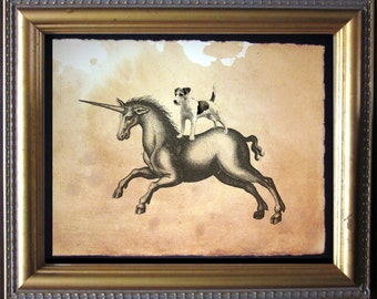 Jack Russell Terrier Dog Riding Unicorn - Vintage Collage Art Print on Tea Stained Paper -- father's day gift- graduation gift