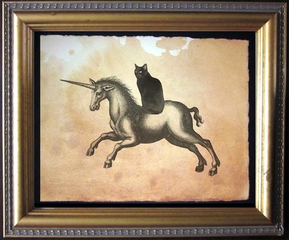 Black Cat Riding Unicorn Black Cat Riding Unicorn Vintage Etsy