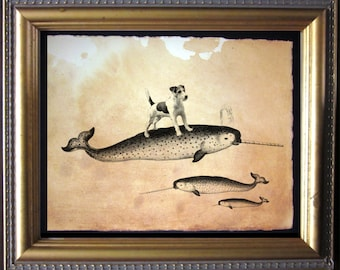 Jack Russell Terrier Dog Riding Narwhal - Vintage Collage Art Print on Tea Stained Paper -- father's day gift- graduation gift