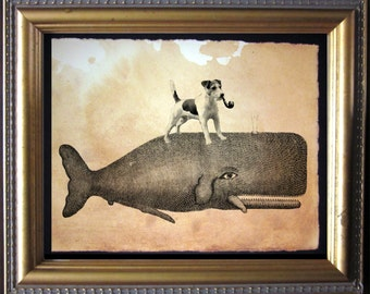 Jack Russell Terrier Dog Riding Whale - Vintage Collage Art Print on Tea Stained Paper -- father's day gift- graduation gift